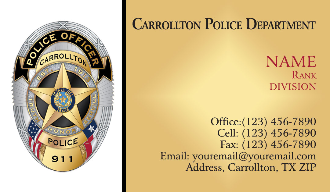 Carrollton Police Department Business Cards